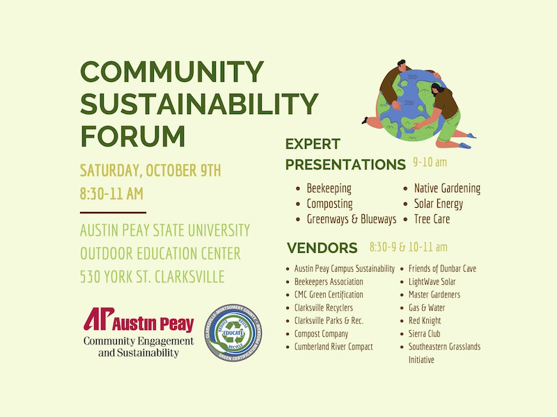 Community Sustainability Forum to be held at Austin Peay State University. (APSU)