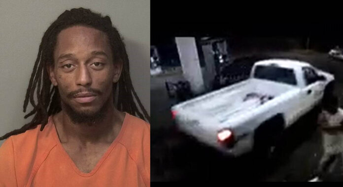 Cordero Quarles is Wanted by Clarksville Police Department for Aggravated Robbery. He arrived at the B&L Market in the white truck in this photo.