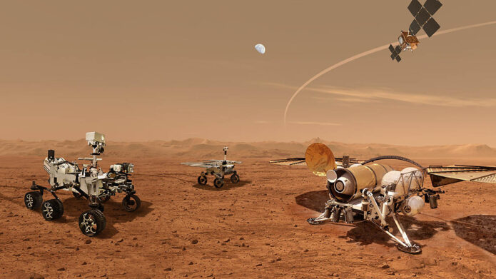 This illustration shows a concept for a set of future robots working together to ferry back samples from the surface of Mars collected by NASA's Mars Perseverance rover. (NASA/ESA/JPL-Caltech)