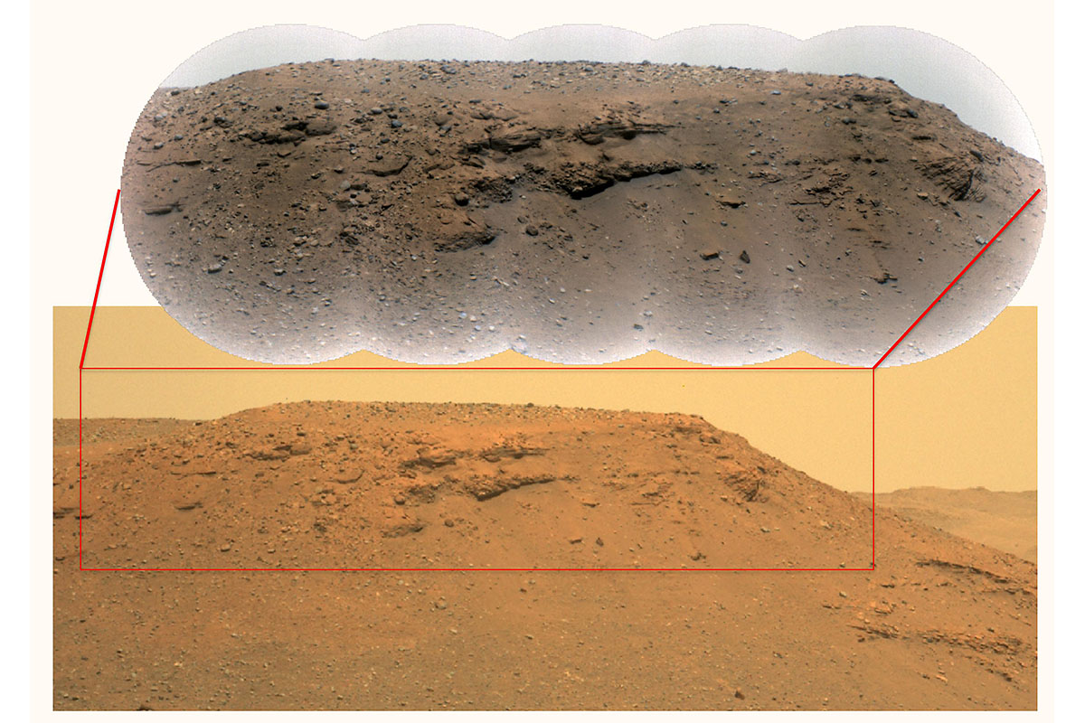 This image of an escarpment, or scarp – a long, steep slope – along the delta of Mars' Jezero Crater was generated using data from the Perseverance rover's Mastcam-Z instrument. The inset image at top is a close-up provided by the Remote Microscopic Imager, which is part of the SuperCam instrument. (NASA/JPL-Caltech/LANL/CNES/CNRS/ASU/MSSSMastcam-Z: NASA/JPL-Caltech/ASU/MSSS)