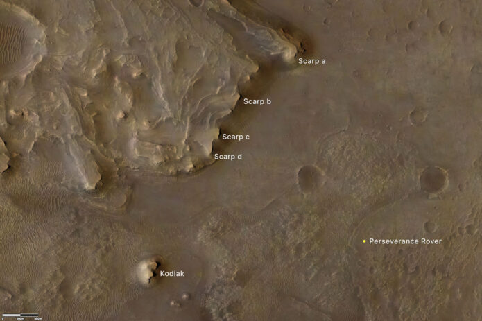 """This annotated image indicates the locations of NASA's Perseverance rover (lower right), as well as the """"Kodiak"""" butte (lower left) and several prominent steep banks known as escarpments, or scarps, along the delta of Jezero Crater. (NASA/JPL-Caltech/University of Arizona/USGS)"""