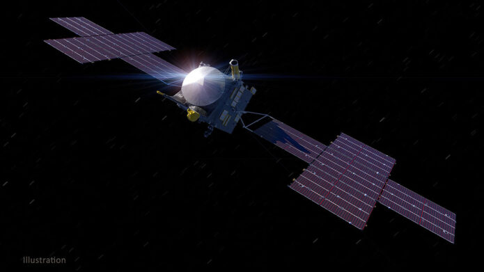 This illustration depicts NASA's Psyche spacecraft, set to launch in August 2022. (NASA/JPL-Caltech/ASU)