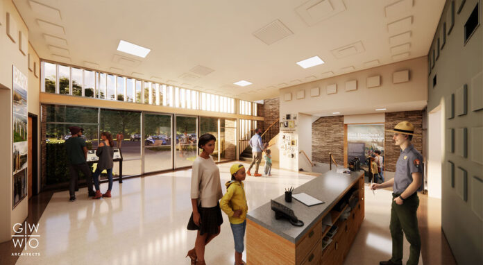 Upon completion, the bright and open lobby will serve as an accessibility-compliant gateway to visitor orientation, expanded interpretation, access to the new park bookstore, updated museum exhibits, the restored 1960s theater, and accessible restroom and office facilities on multiple floors. (Renderings by GWWO Architects)