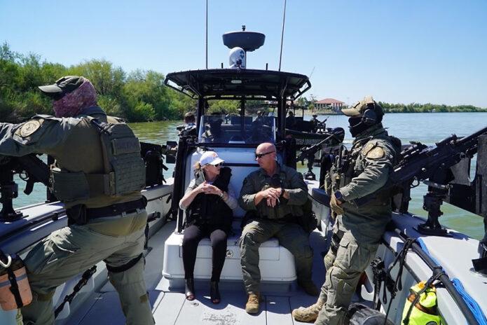 U.S. Senator Marsha Blackburn on the Rio Grande River with DPS Tactical Marine Unit.